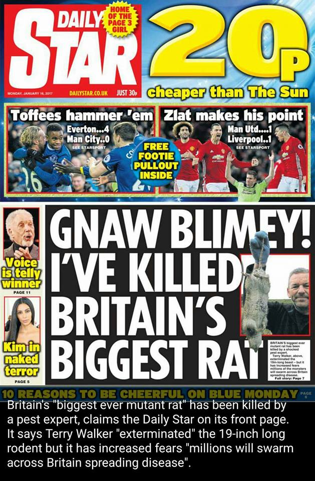 Daily Star front page showing Britain's Biggest Rat caught by TP Pest Control Services